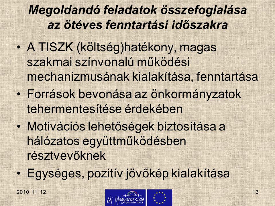 Megoldandó feladatok összefoglalása az ötéves fenntartási időszakra A TISZK (költség)hatékony, magas szakmai színvonalú működési mechanizmusának kiala