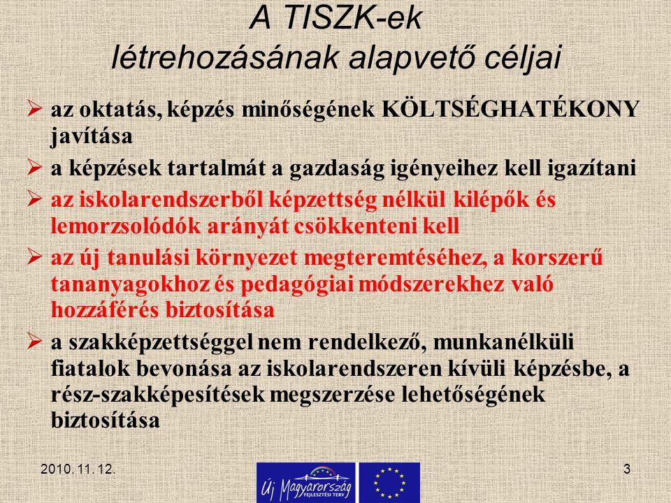 3 A TISZK-ek létrehozásának alapvető céljai  az oktatás, képzés minőségének KÖLTSÉGHATÉKONY javítása  a képzések tartalmát a gazdaság igényeihez kel