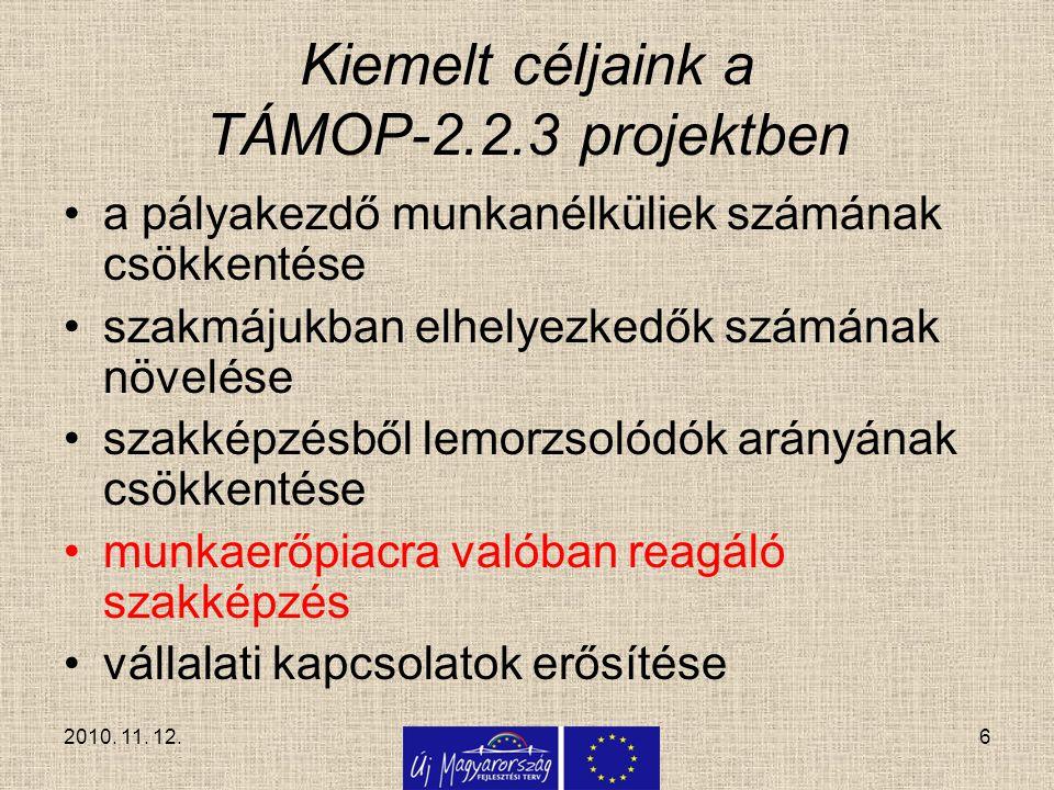 6 Kiemelt céljaink a TÁMOP-2.2.3 projektben a pályakezdő munkanélküliek számának csökkentése szakmájukban elhelyezkedők számának növelése szakképzésbő