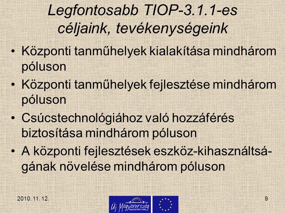 9 Legfontosabb TIOP-3.1.1-es céljaink, tevékenységeink Központi tanműhelyek kialakítása mindhárom póluson Központi tanműhelyek fejlesztése mindhárom p