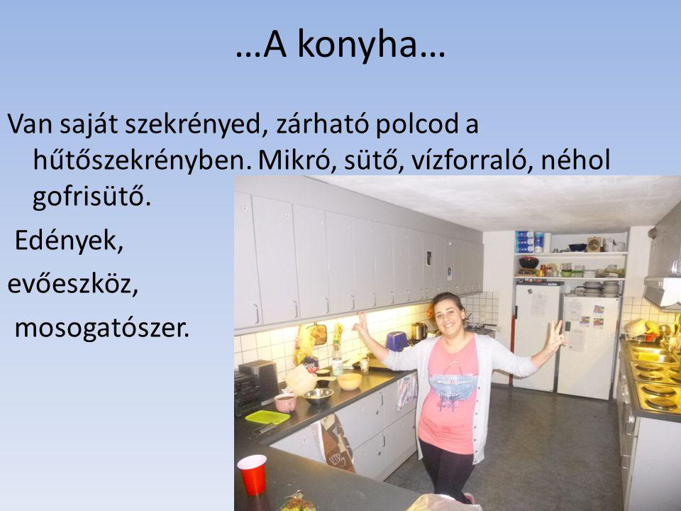 …A konyha… Van saját szekrényed, zárható polcod a hűtőszekrényben.