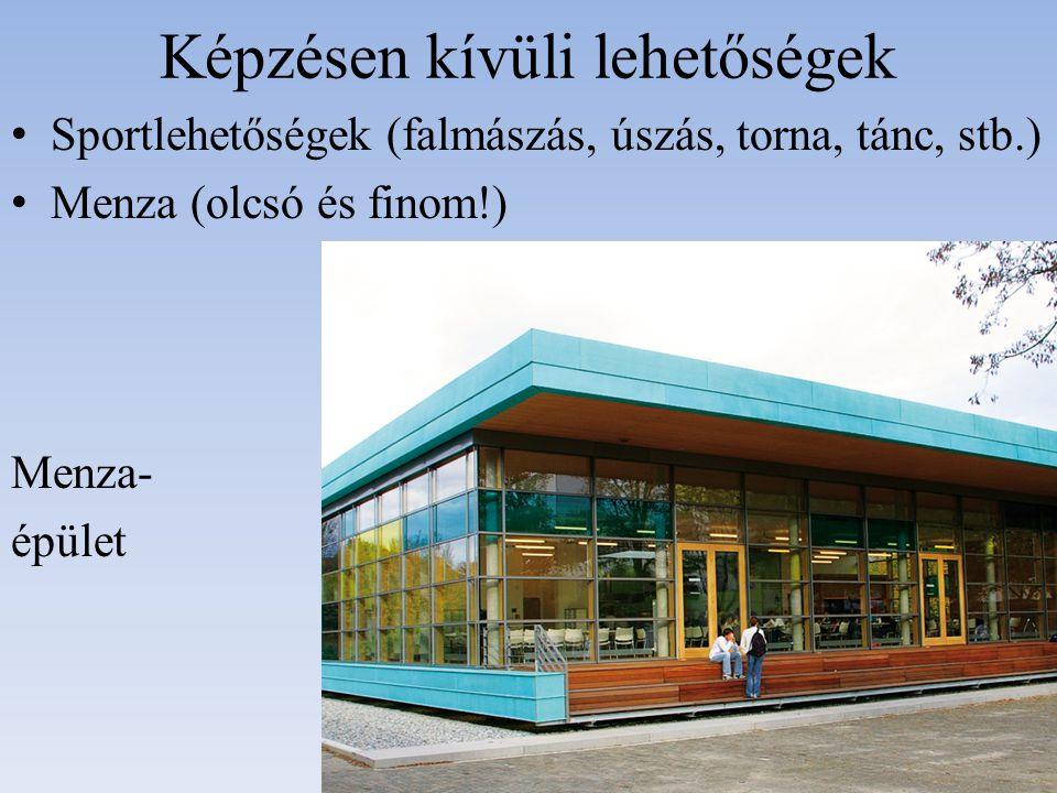Képzésen kívüli lehetőségek Sportlehetőségek (falmászás, úszás, torna, tánc, stb.) Menza (olcsó és finom!) Menza- épület