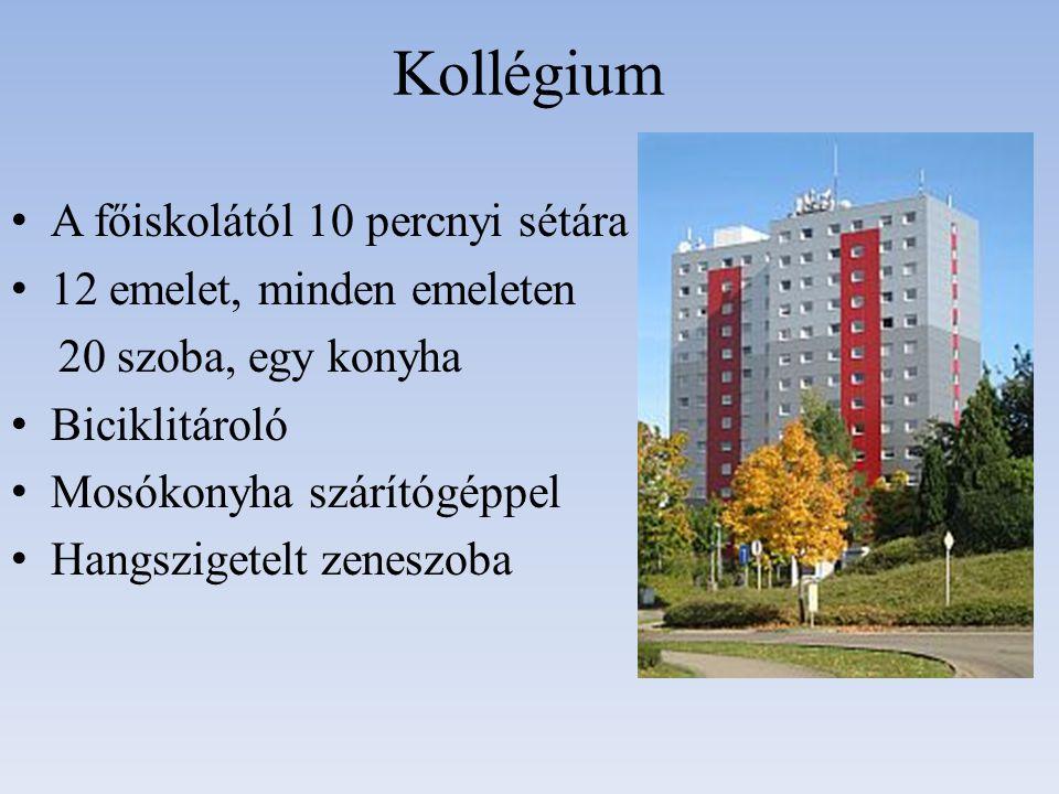 Kollégium A főiskolától 10 percnyi sétára 12 emelet, minden emeleten 20 szoba, egy konyha Biciklitároló Mosókonyha szárítógéppel Hangszigetelt zeneszoba