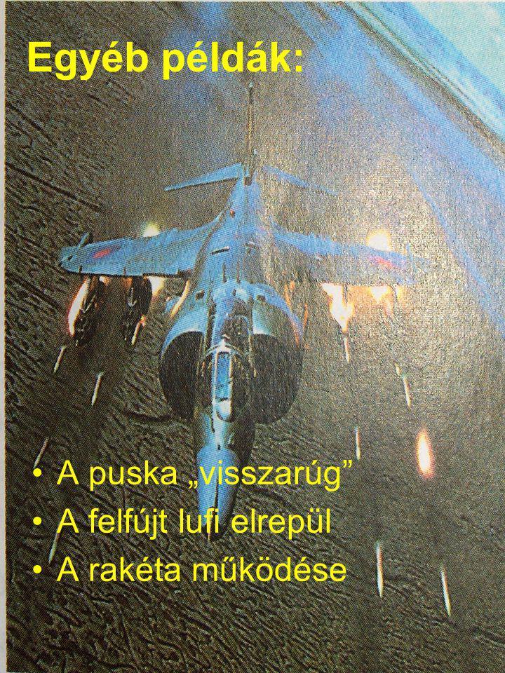 """Egyéb példák: A puska """"visszarúg A felfújt lufi elrepül A rakéta működése"""