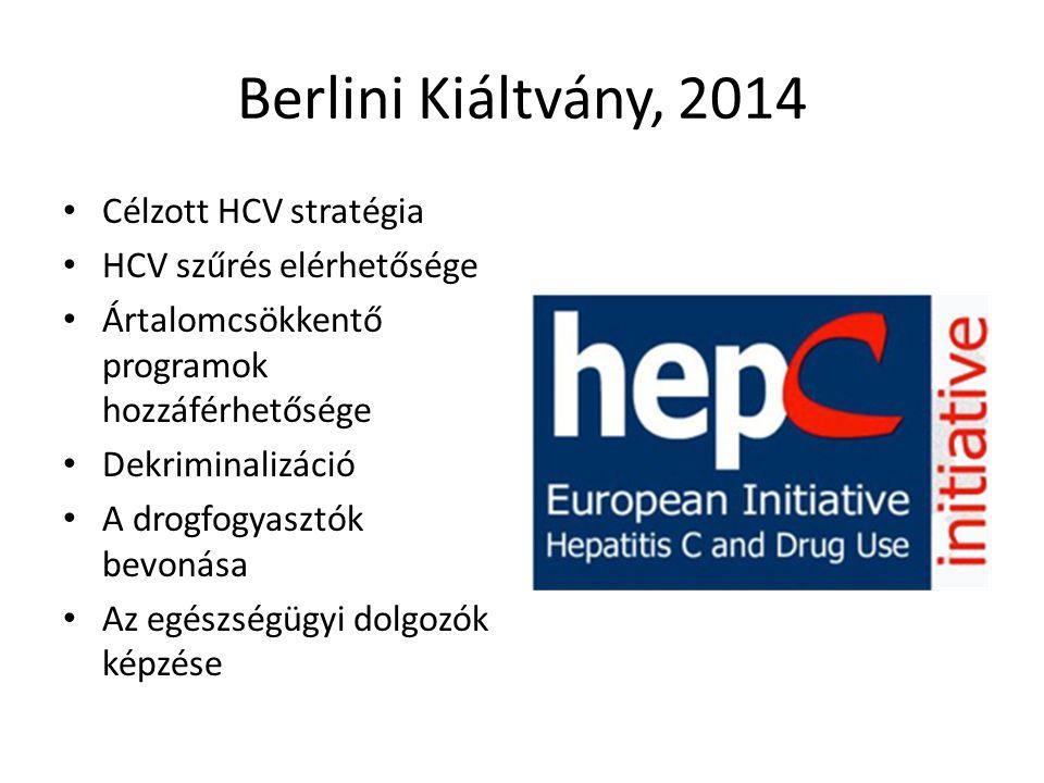 Berlini Kiáltvány, 2014 Célzott HCV stratégia HCV szűrés elérhetősége Ártalomcsökkentő programok hozzáférhetősége Dekriminalizáció A drogfogyasztók be