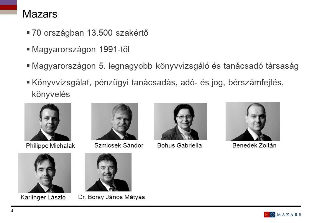 4 Titre de la présentation  70 országban 13.500 szakértő  Magyarországon 1991-től  Magyarországon 5. legnagyobb könyvvizsgáló és tanácsadó társaság