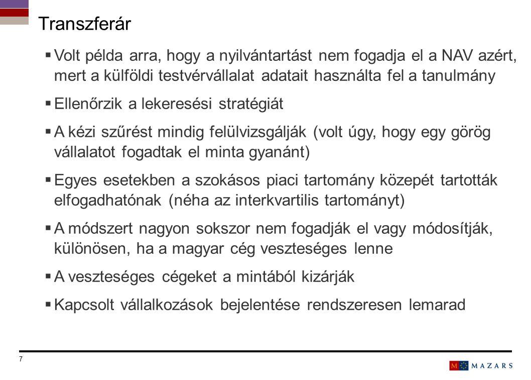 7 Titre de la présentation  Volt példa arra, hogy a nyilvántartást nem fogadja el a NAV azért, mert a külföldi testvérvállalat adatait használta fel