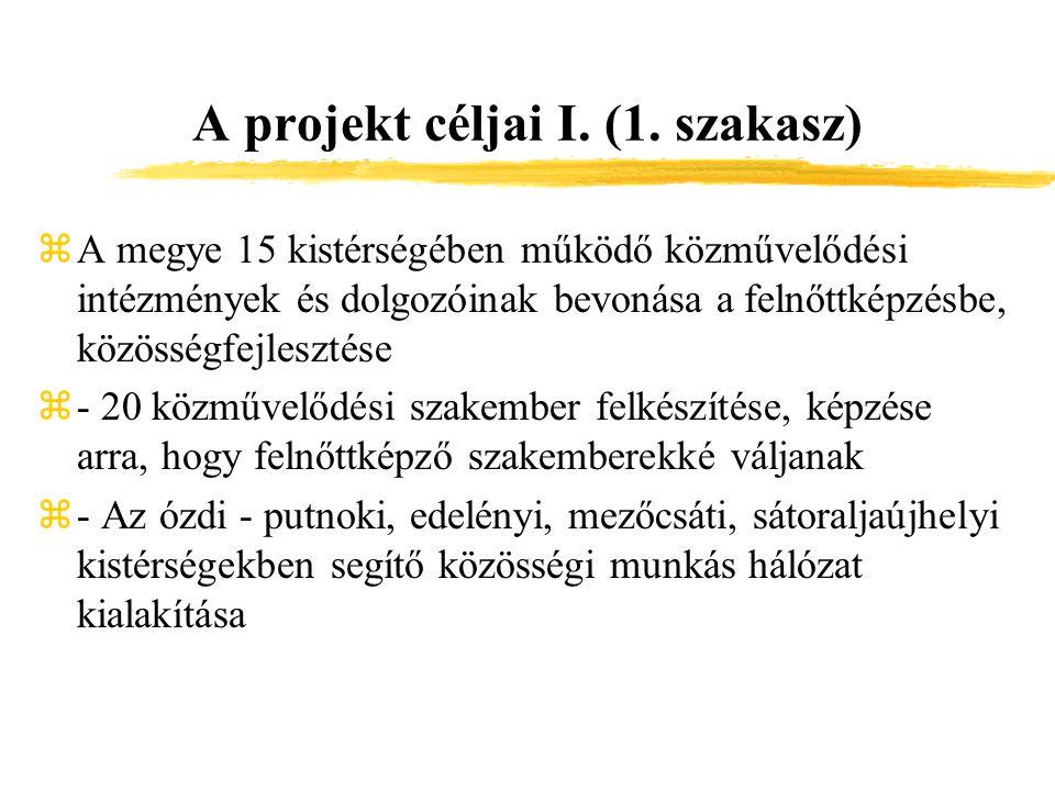 A projekt céljai I. (1.