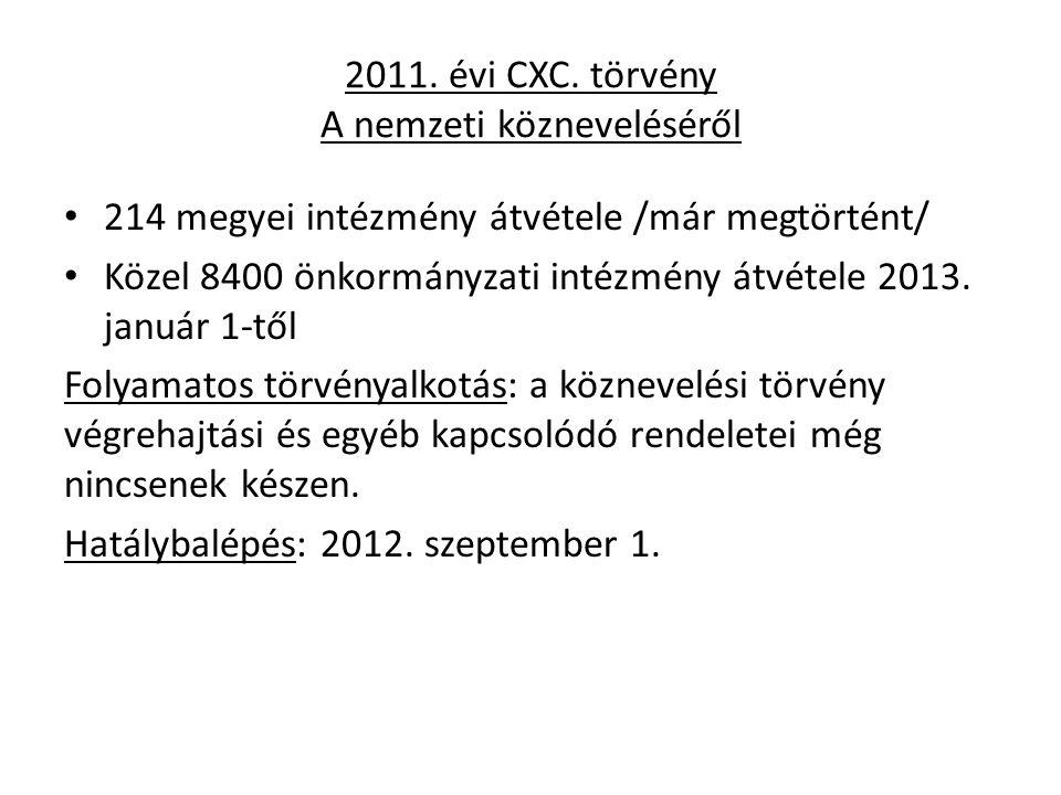 2011. évi CXC. törvény A nemzeti közneveléséről 214 megyei intézmény átvétele /már megtörtént/ Közel 8400 önkormányzati intézmény átvétele 2013. januá