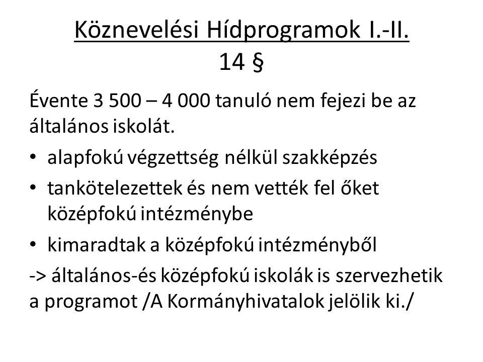 Köznevelési Hídprogramok I.-II. 14 § Évente 3 500 – 4 000 tanuló nem fejezi be az általános iskolát. alapfokú végzettség nélkül szakképzés tanköteleze