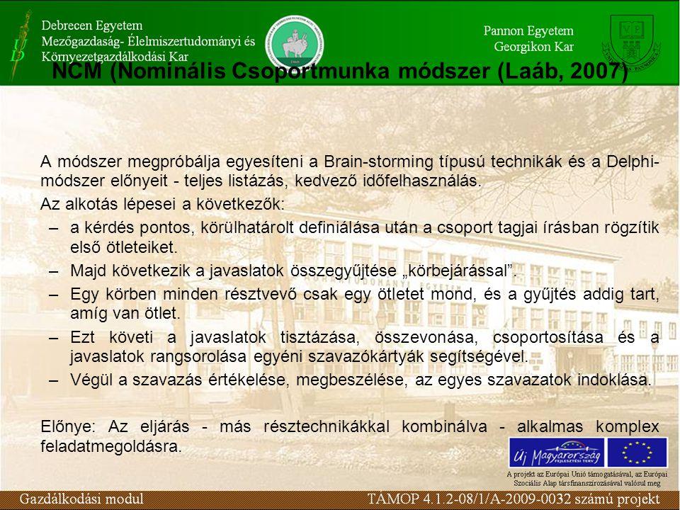 NCM (Nominális Csoportmunka módszer (Laáb, 2007) A módszer megpróbálja egyesíteni a Brain-storming típusú technikák és a Delphi- módszer előnyeit - te