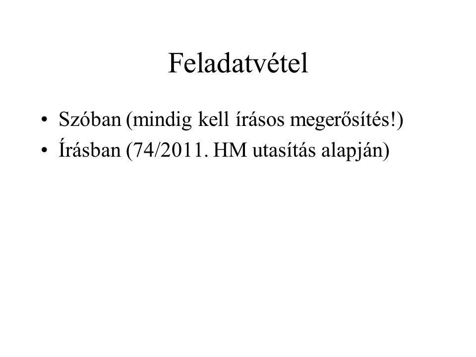 Feladatvétel Szóban (mindig kell írásos megerősítés!) Írásban (74/2011. HM utasítás alapján)