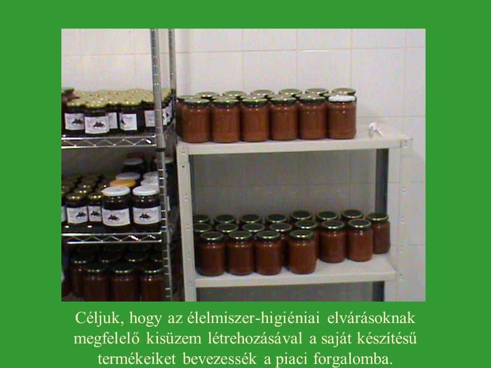 Céljuk, hogy az élelmiszer-higiéniai elvárásoknak megfelelő kisüzem létrehozásával a saját készítésű termékeiket bevezessék a piaci forgalomba.