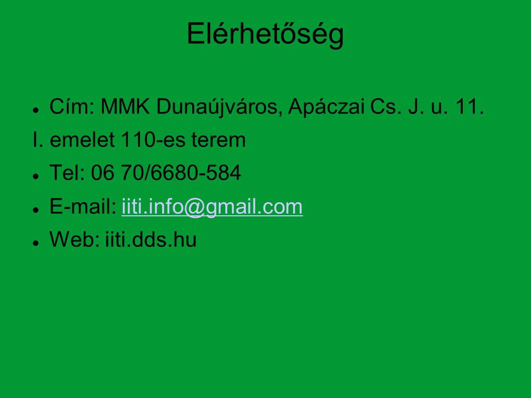 Elérhetőség Cím: MMK Dunaújváros, Apáczai Cs.J. u.