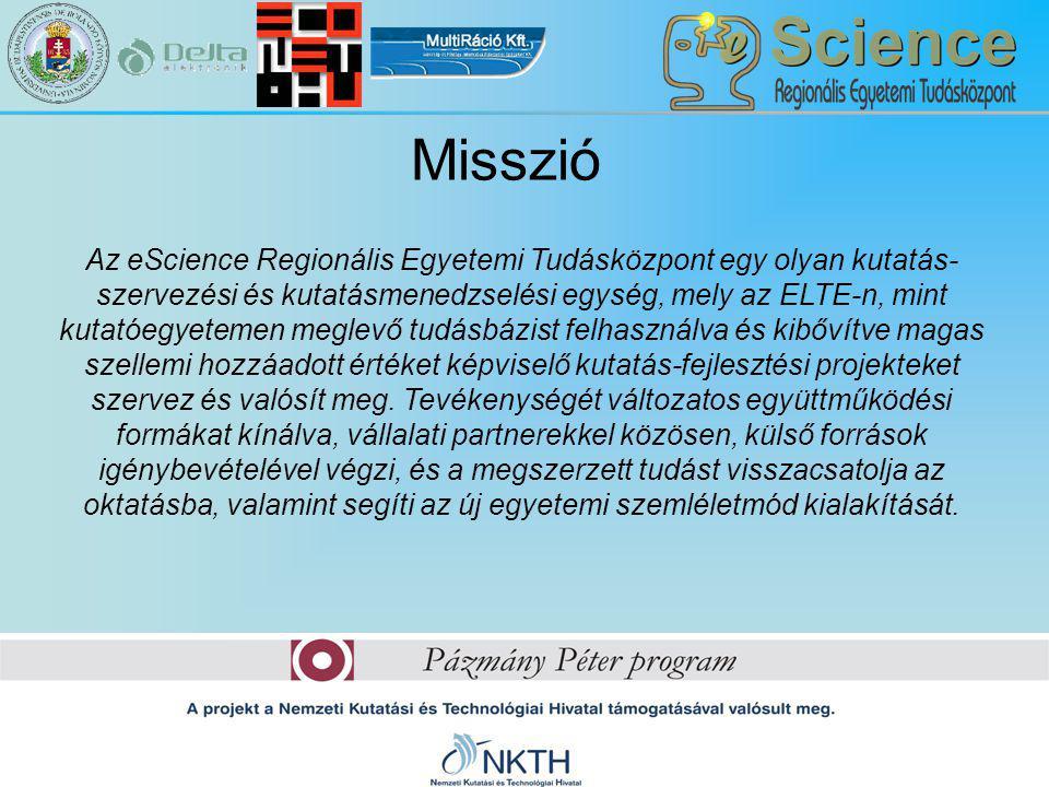 Misszió Az eScience Regionális Egyetemi Tudásközpont egy olyan kutatás- szervezési és kutatásmenedzselési egység, mely az ELTE-n, mint kutatóegyetemen meglevő tudásbázist felhasználva és kibővítve magas szellemi hozzáadott értéket képviselő kutatás-fejlesztési projekteket szervez és valósít meg.