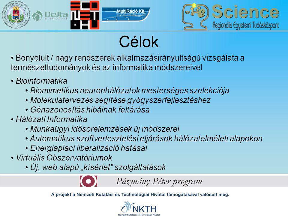"""Célok Bonyolult / nagy rendszerek alkalmazásirányultságú vizsgálata a természettudományok és az informatika módszereivel Bioinformatika Biomimetikus neuronhálózatok mesterséges szelekciója Molekulatervezés segítése gyógyszerfejlesztéshez Génazonosítás hibáinak feltárása Hálózati Informatika Munkaügyi idősorelemzések új módszerei Automatikus szoftvertesztelési eljárások hálózatelméleti alapokon Energiapiaci liberalizáció hatásai Virtuális Obszervatóriumok Új, web alapú """"kísérlet szolgáltatások"""