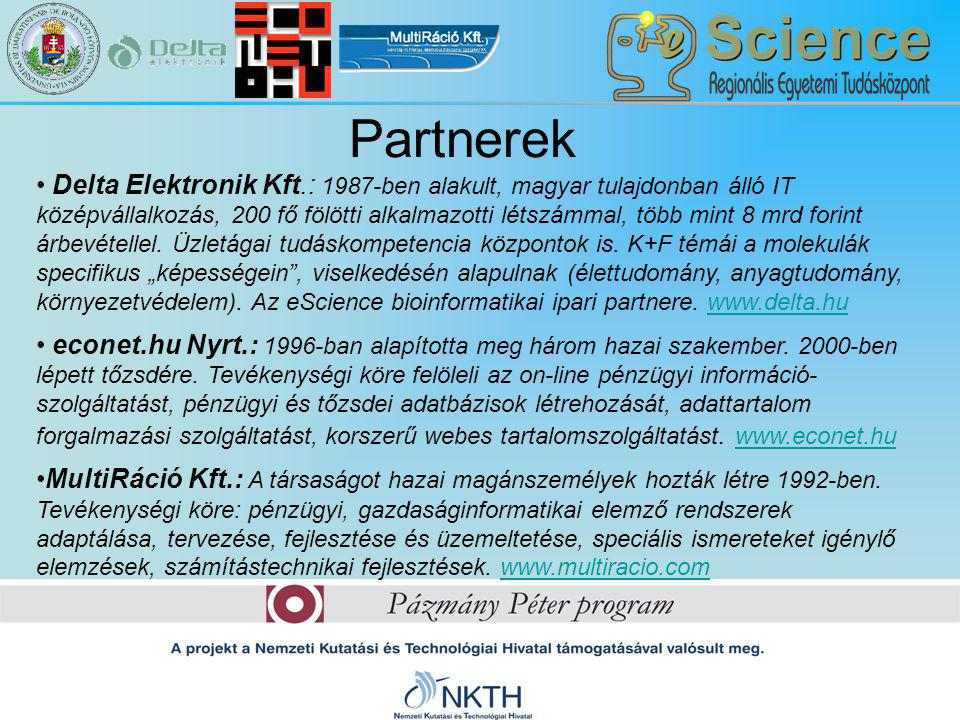 Partnerek Delta Elektronik Kft.: 1987-ben alakult, magyar tulajdonban álló IT középvállalkozás, 200 fő fölötti alkalmazotti létszámmal, több mint 8 mr