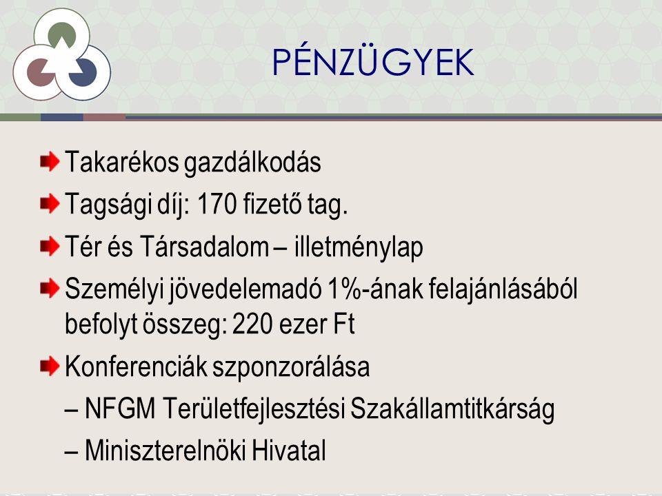 PÉNZÜGYEK Takarékos gazdálkodás Tagsági díj: 170 fizető tag.