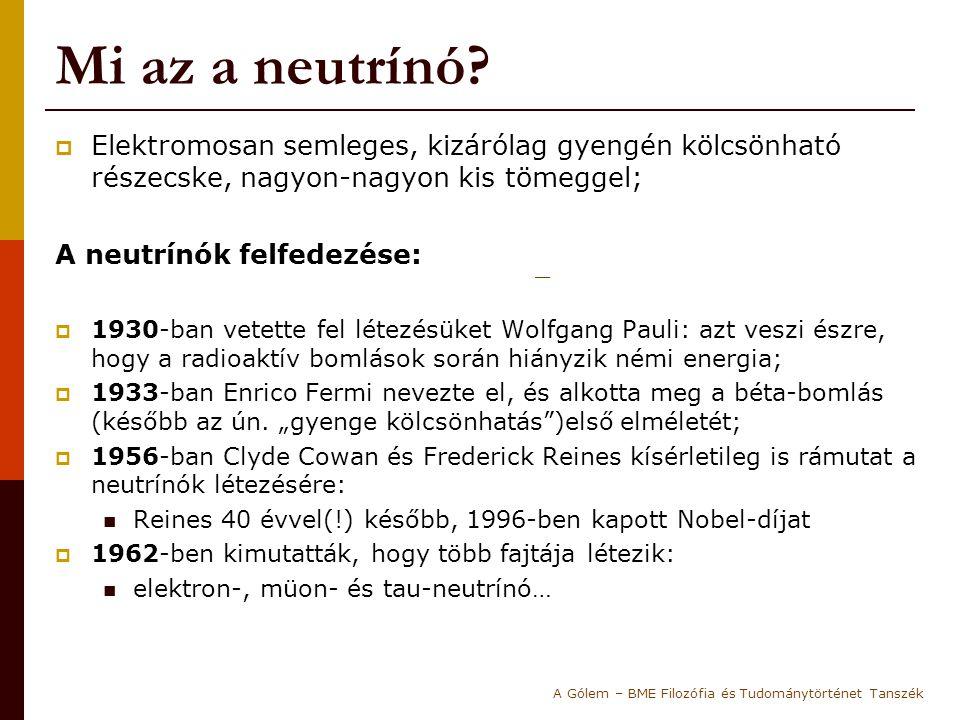 Mi az a neutrínó?  Elektromosan semleges, kizárólag gyengén kölcsönható részecske, nagyon-nagyon kis tömeggel; A neutrínók felfedezése:  1930-ban ve