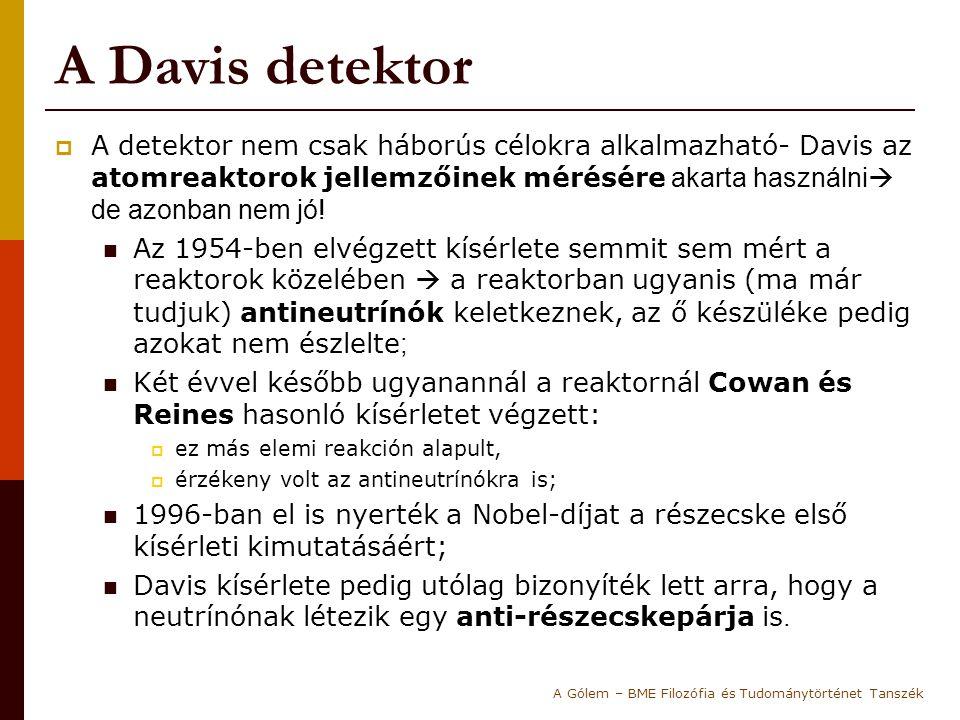 A Davis detektor  A detektor nem csak háborús célokra alkalmazható- Davis az atomreaktorok jellemzőinek mérésére akarta használni  de azonban nem jó.