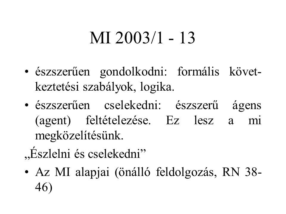 MI 2003/1 - 13 észszerűen gondolkodni: formális követ- keztetési szabályok, logika. észszerűen cselekedni: észszerű ágens (agent) feltételezése. Ez le
