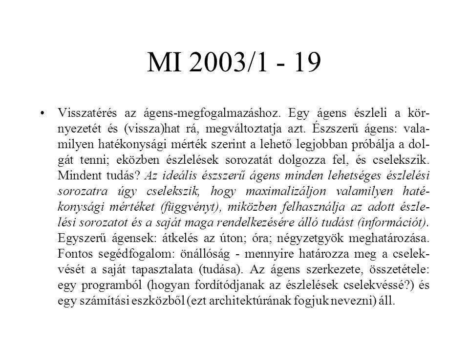 MI 2003/1 - 19 Visszatérés az ágens-megfogalmazáshoz. Egy ágens észleli a kör- nyezetét és (vissza)hat rá, megváltoztatja azt. Észszerű ágens: vala- m