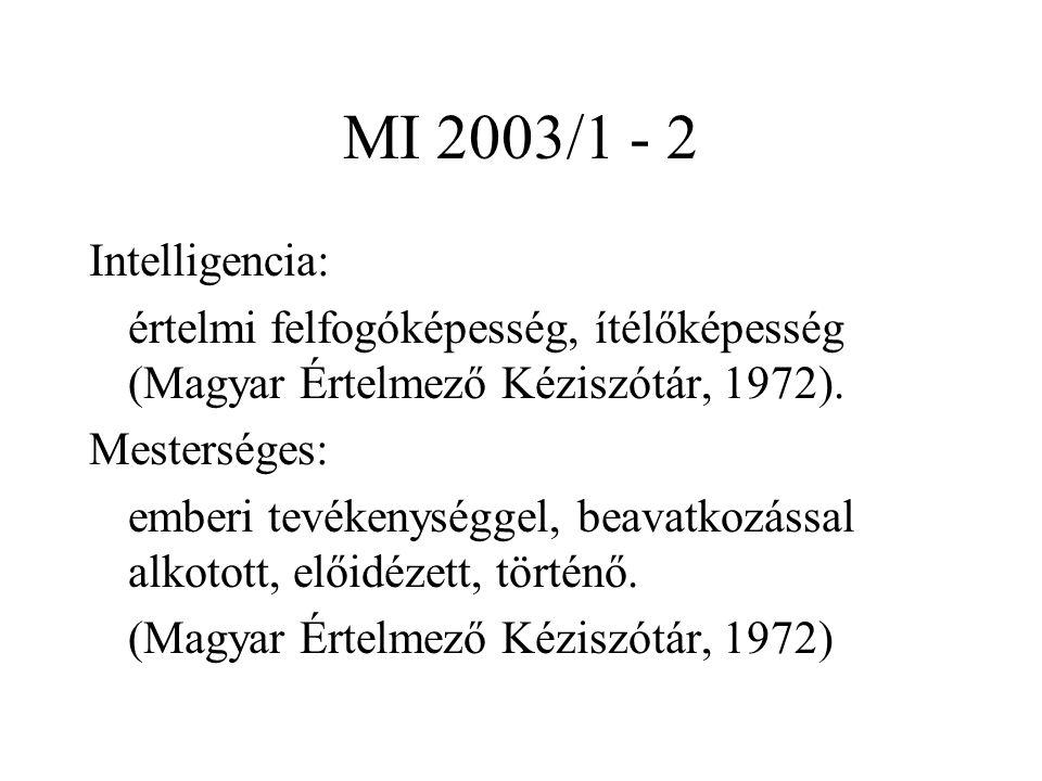 MI 2003/1 - 2 Intelligencia: értelmi felfogóképesség, ítélőképesség (Magyar Értelmező Kéziszótár, 1972). Mesterséges: emberi tevékenységgel, beavatkoz