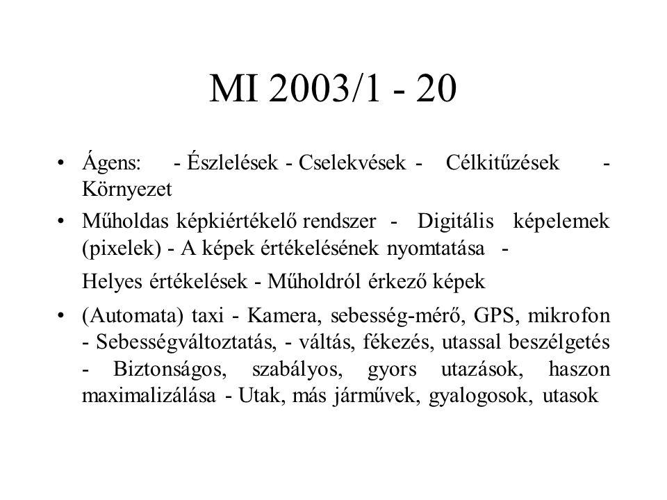 MI 2003/1 - 20 Ágens: - Észlelések - Cselekvések -Célkitűzések - Környezet Műholdas képkiértékelő rendszer- Digitális képelemek (pixelek) - A képek ér