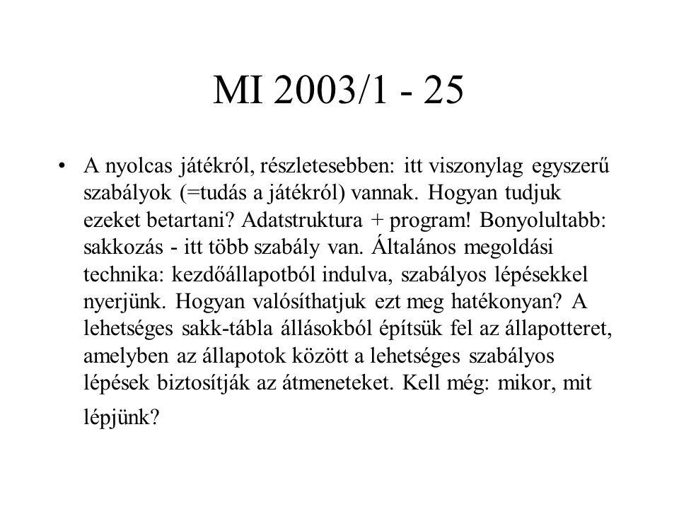 MI 2003/1 - 25 A nyolcas játékról, részletesebben: itt viszonylag egyszerű szabályok (=tudás a játékról) vannak. Hogyan tudjuk ezeket betartani? Adats