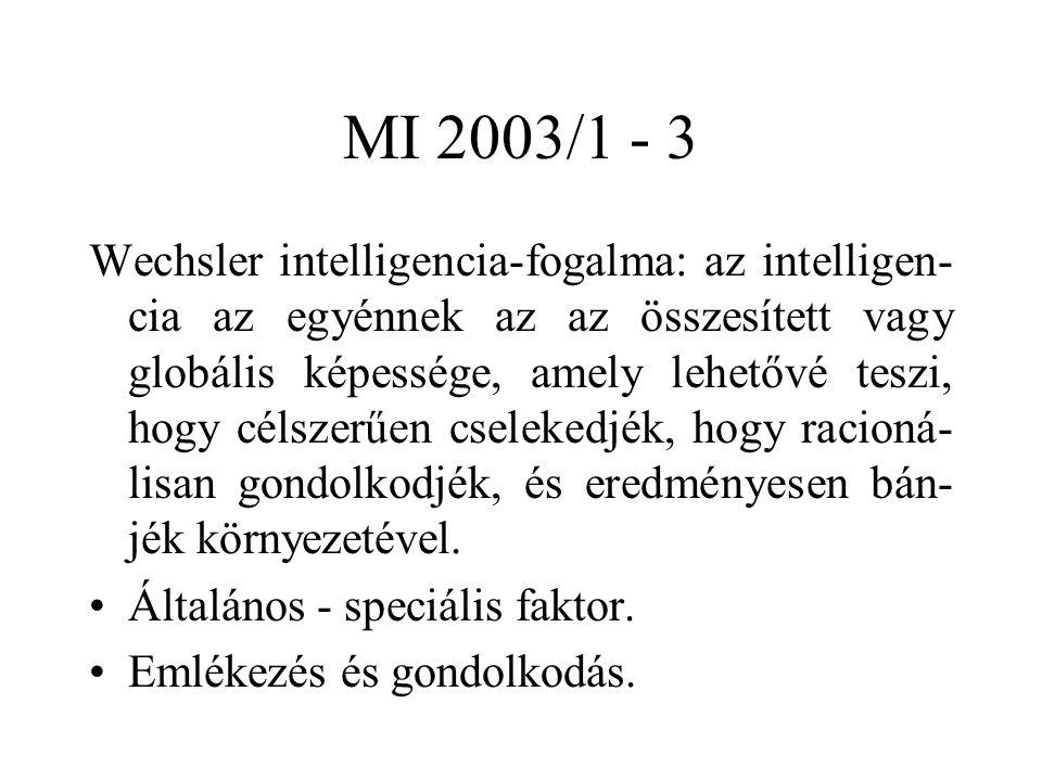 MI 2003/1 - 3 Wechsler intelligencia-fogalma: az intelligen- cia az egyénnek az az összesített vagy globális képessége, amely lehetővé teszi, hogy célszerűen cselekedjék, hogy racioná- lisan gondolkodjék, és eredményesen bán- jék környezetével.