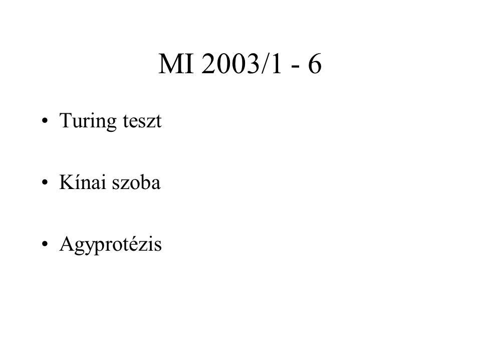 MI 2003/1 - 6 Turing teszt Kínai szoba Agyprotézis