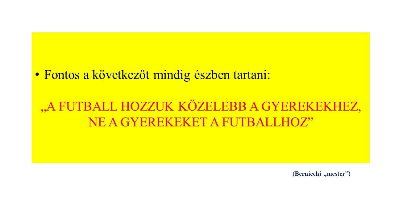 """Fontos a következőt mindig észben tartani: """"A FUTBALL HOZZUK KÖZELEBB A GYEREKEKHEZ, NE A GYEREKEKET A FUTBALLHOZ (Bernicchi """"mester )"""