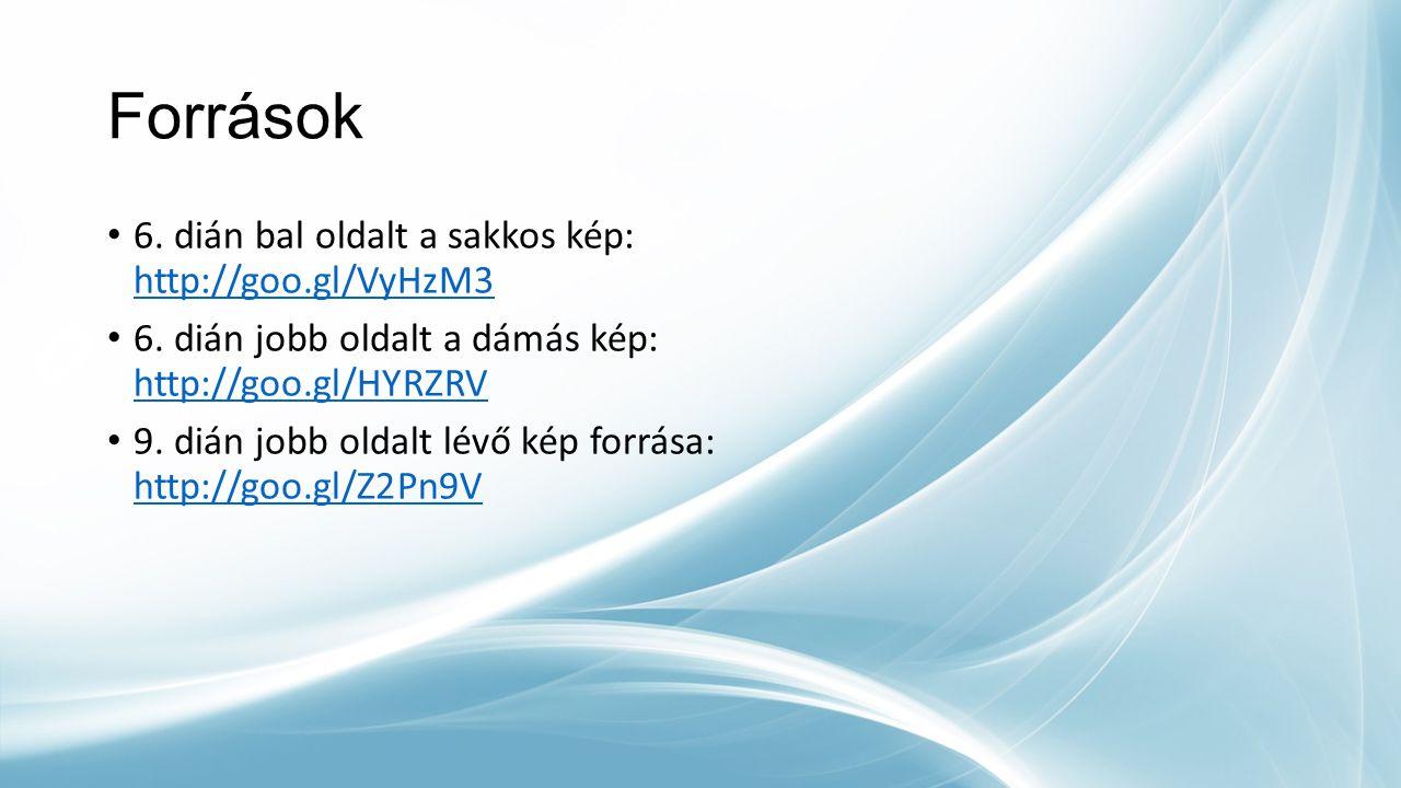Források 6. dián bal oldalt a sakkos kép: http://goo.gl/VyHzM3 http://goo.gl/VyHzM3 6. dián jobb oldalt a dámás kép: http://goo.gl/HYRZRV http://goo.g
