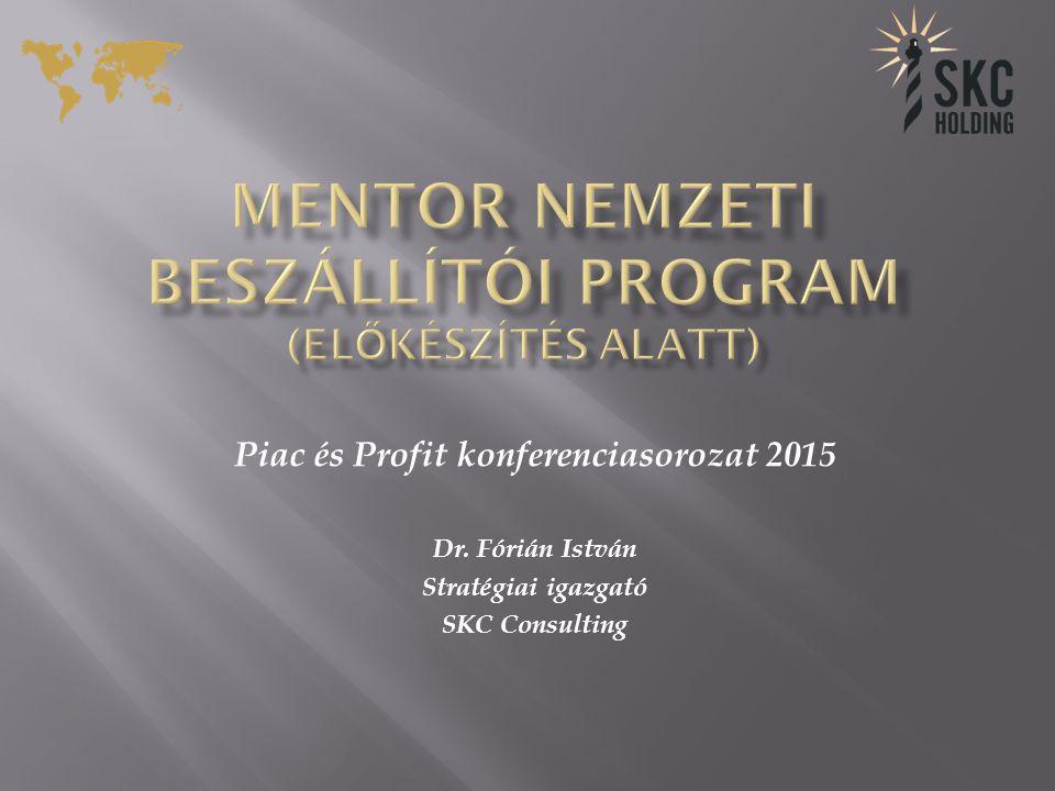 Piac és Profit konferenciasorozat 2015 Dr. Fórián István Stratégiai igazgató SKC Consulting