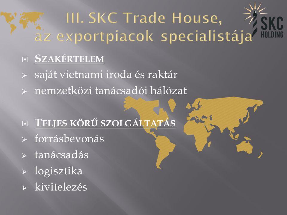  S ZAKÉRTELEM  saját vietnami iroda és raktár  nemzetközi tanácsadói hálózat  T ELJES KÖRŰ SZOLGÁLTATÁS  forrásbevonás  tanácsadás  logisztika  kivitelezés
