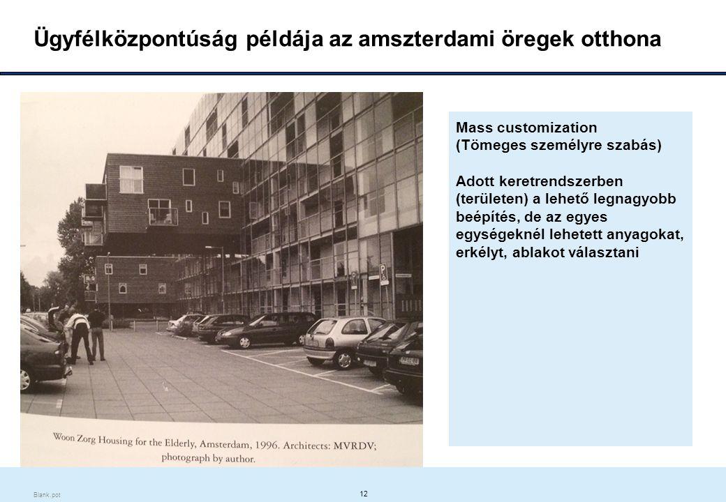 12 Blank.pot Ügyfélközpontúság példája az amszterdami öregek otthona Mass customization (Tömeges személyre szabás) Adott keretrendszerben (területen) a lehető legnagyobb beépítés, de az egyes egységeknél lehetett anyagokat, erkélyt, ablakot választani