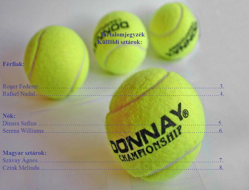 Tartalomjegyzék Külföldi sztárok: Férfiak: Roger Federer……………………………………………………………………….…….3. Rafael Nadal………………………………………………………………………………4. Nők: Dinara Saf