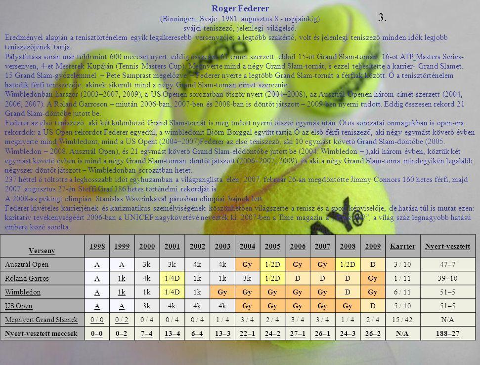 Roger Federer (Binningen, Svájc, 1981. augusztus 8.- napjainkig) svájci teniszező, jelenlegi világelső. Eredményei alapján a tenisztörténelem egyik le