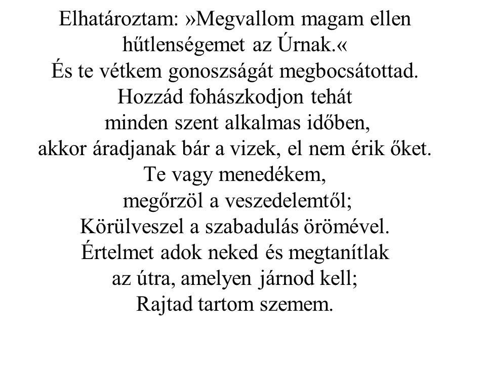 Elhatároztam: »Megvallom magam ellen hűtlenségemet az Úrnak.« És te vétkem gonoszságát megbocsátottad.