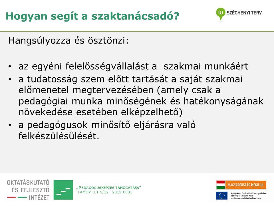"""""""P EDAGÓGUSKÉPZÉS TÁMOGATÁSA TÁMOP-3.1.5/12 -2012-0001 Hogyan segít a szaktanácsadó."""