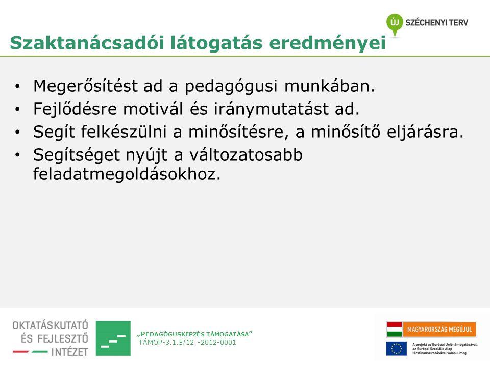 """""""P EDAGÓGUSKÉPZÉS TÁMOGATÁSA TÁMOP-3.1.5/12 -2012-0001 Szaktanácsadói látogatás eredményei Megerősítést ad a pedagógusi munkában."""