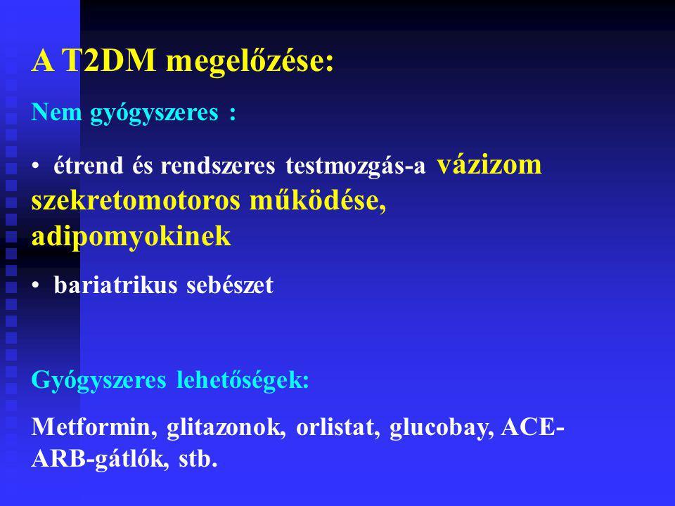 A T2DM megelőzése: Nem gyógyszeres : étrend és rendszeres testmozgás-a vázizom szekretomotoros működése, adipomyokinek bariatrikus sebészet Gyógyszeres lehetőségek: Metformin, glitazonok, orlistat, glucobay, ACE- ARB-gátlók, stb.