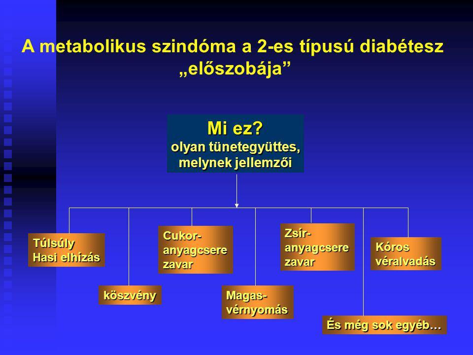 """A metabolikus szindóma a 2-es típusú diabétesz """"előszobája"""" Mi ez? olyan tünetegyüttes, melynek jellemzői Túlsúly Hasi elhízás köszvény Cukor-anyagcse"""