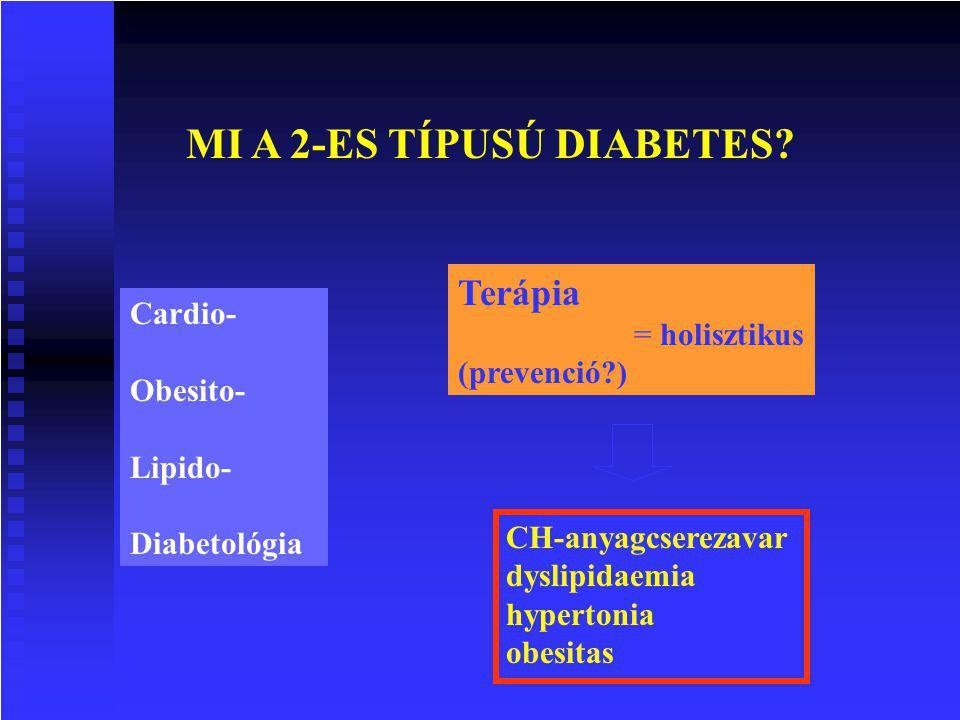 MI A 2-ES TÍPUSÚ DIABETES? Cardio- Obesito- Lipido- Diabetológia Terápia = holisztikus (prevenció?) CH-anyagcserezavar dyslipidaemia hypertonia obesit