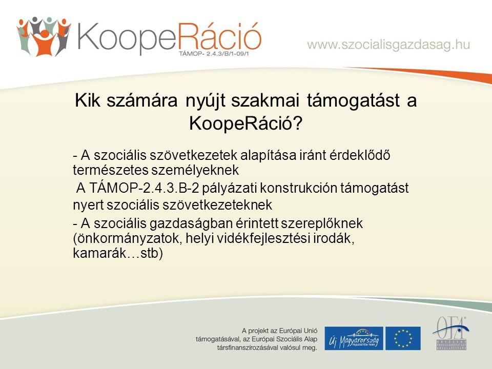 Kik számára nyújt szakmai támogatást a KoopeRáció.