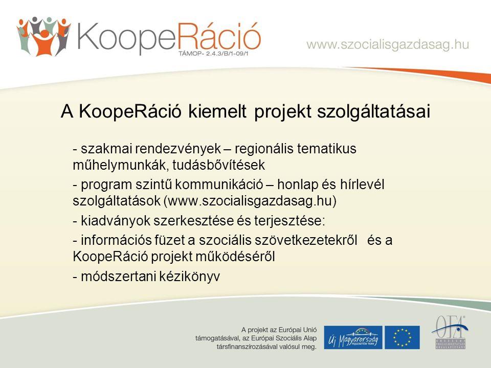 A KoopeRáció kiemelt projekt szolgáltatásai - szakmai rendezvények – regionális tematikus műhelymunkák, tudásbővítések - program szintű kommunikáció – honlap és hírlevél szolgáltatások (www.szocialisgazdasag.hu) - kiadványok szerkesztése és terjesztése: - információs füzet a szociális szövetkezetekről és a KoopeRáció projekt működéséről - módszertani kézikönyv