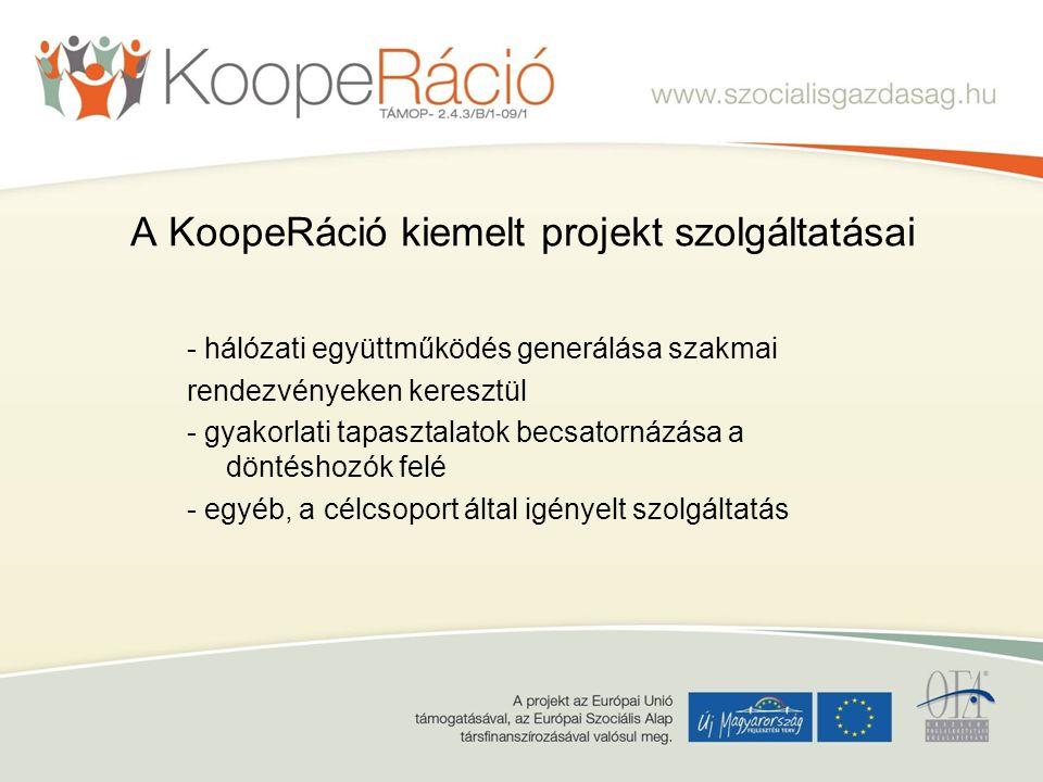 A KoopeRáció kiemelt projekt szolgáltatásai - hálózati együttműködés generálása szakmai rendezvényeken keresztül - gyakorlati tapasztalatok becsatornázása a döntéshozók felé - egyéb, a célcsoport által igényelt szolgáltatás