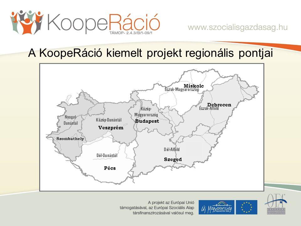 A KoopeRáció kiemelt projekt regionális pontjai Budapest Szeged Debrecen Pécs Veszprém Miskolc Szombathely