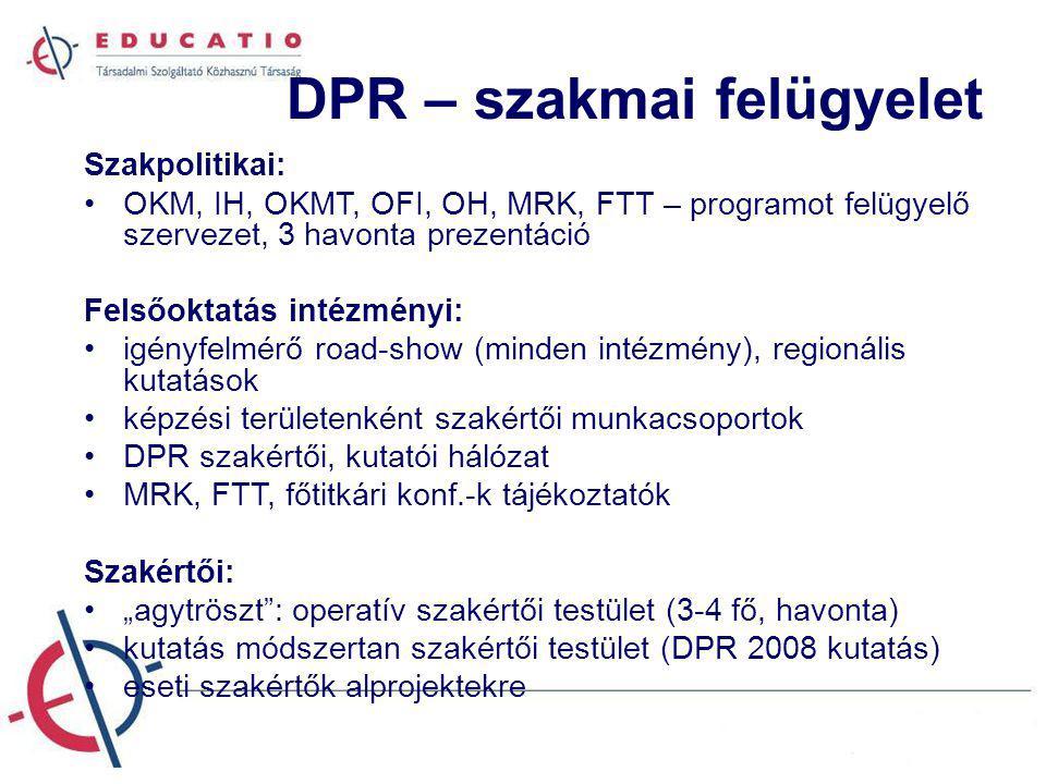 """DPR – szakmai felügyelet Szakpolitikai: OKM, IH, OKMT, OFI, OH, MRK, FTT – programot felügyelő szervezet, 3 havonta prezentáció Felsőoktatás intézményi: igényfelmérő road-show (minden intézmény), regionális kutatások képzési területenként szakértői munkacsoportok DPR szakértői, kutatói hálózat MRK, FTT, főtitkári konf.-k tájékoztatók Szakértői: """"agytröszt : operatív szakértői testület (3-4 fő, havonta) kutatás módszertan szakértői testület (DPR 2008 kutatás) eseti szakértők alprojektekre"""