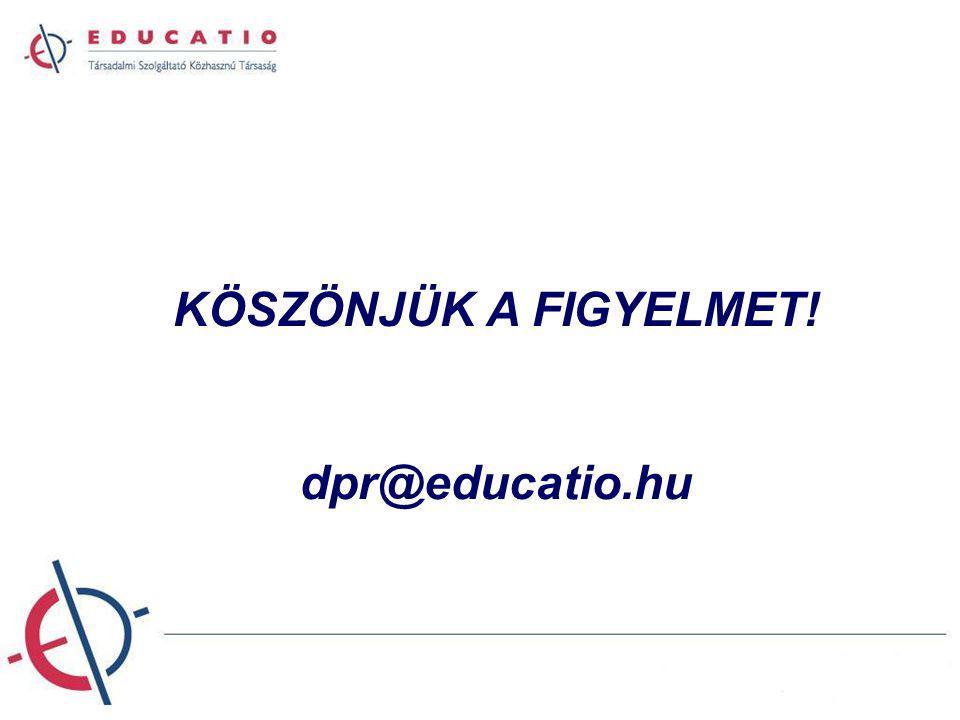 KÖSZÖNJÜK A FIGYELMET! dpr@educatio.hu